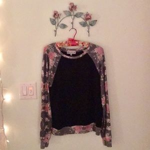 Wildfox Baggy Beach Jumper Black and Roses